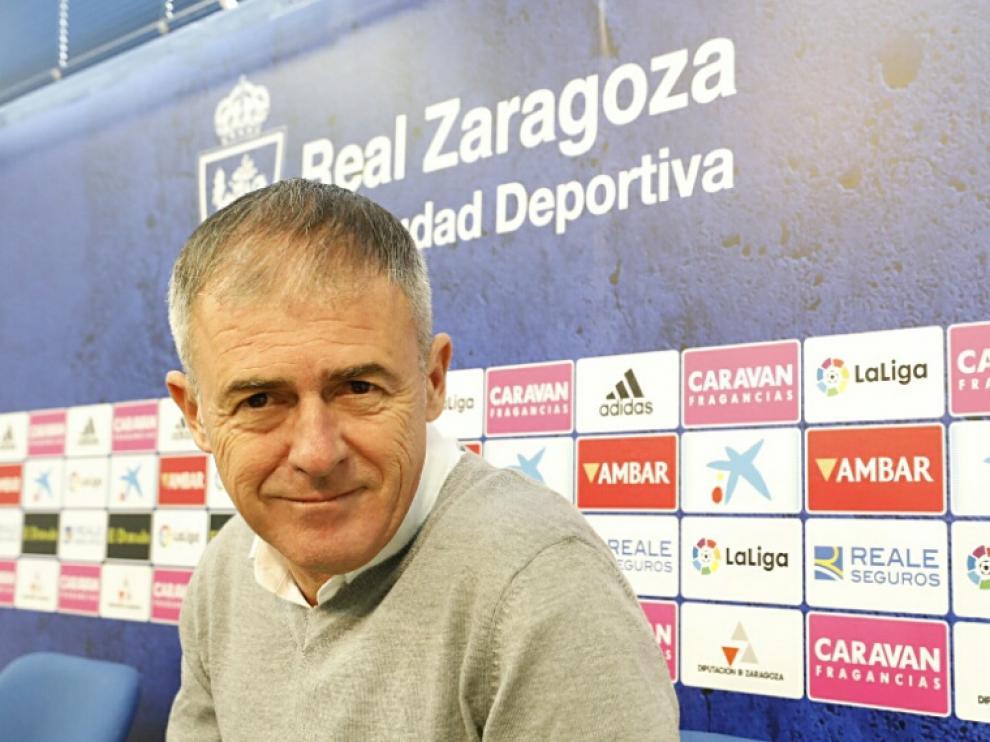 Lucas Alcaraz, en la rueda de prensa previa a la visita al Alcorcón