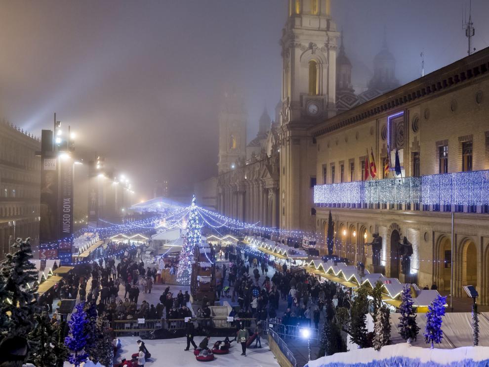 La feria navideña de la plaza del Pilar, el año pasado.