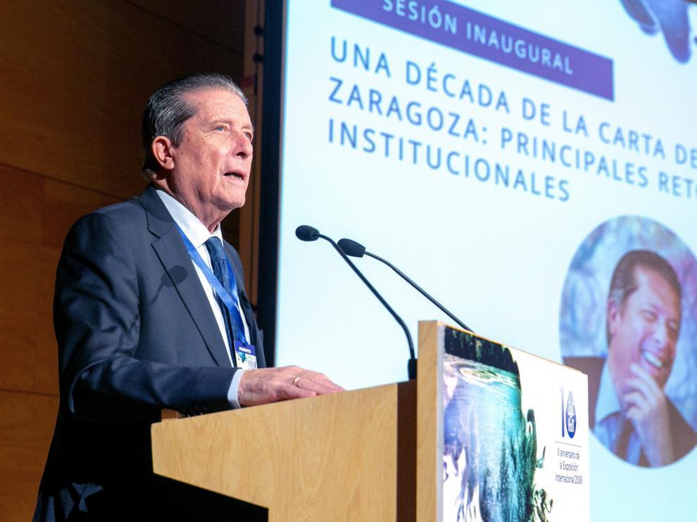 El presidente de la Fundación para una Cultura de Paz, Federico Mayor Zaragoza, durante su intervención en el seminario.