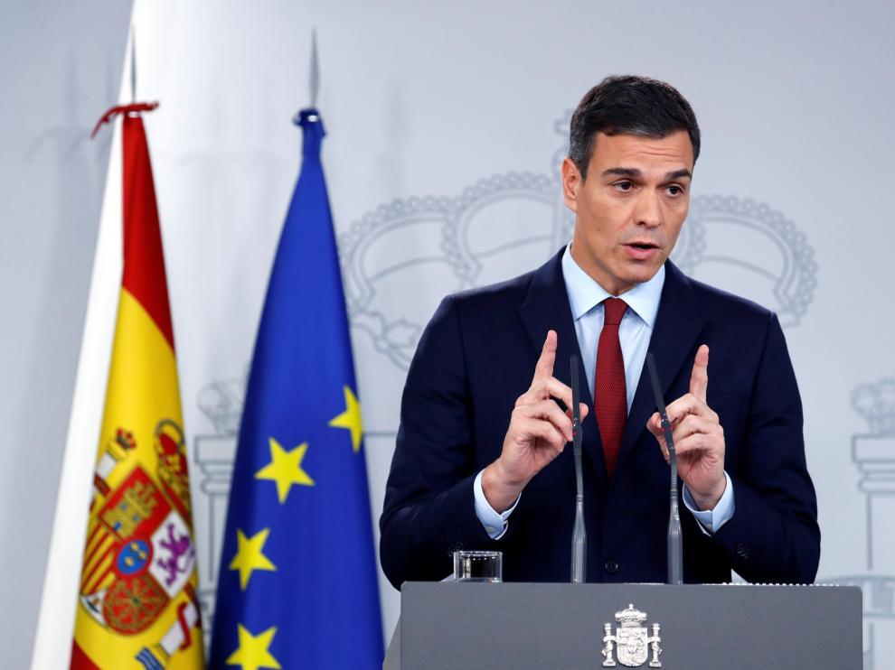 Comparecencia de Pedro Sánchez en La Monchoa, donde ha anunciado que España ha llegado a un acuerdo sobre Gibraltar y apoyará el Brexit