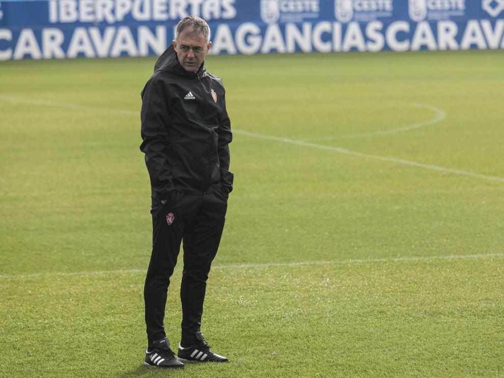 Lucas Alcaraz, en un entrenamiento del Real Zaragoza