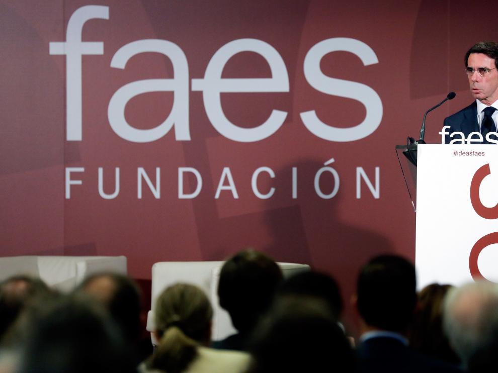 José María Aznar durante su intervención en Valencia en un foro de ideas de la Fundación FAES.
