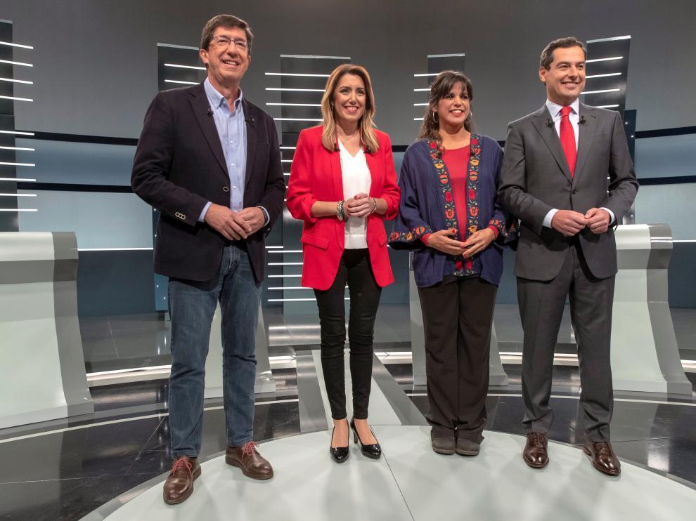 Juan Marín,Susana Díaz,Teresa Rodríguez yJuanma Moreno
