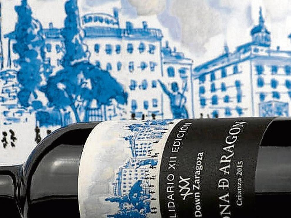Etiqueta del vino solidario.