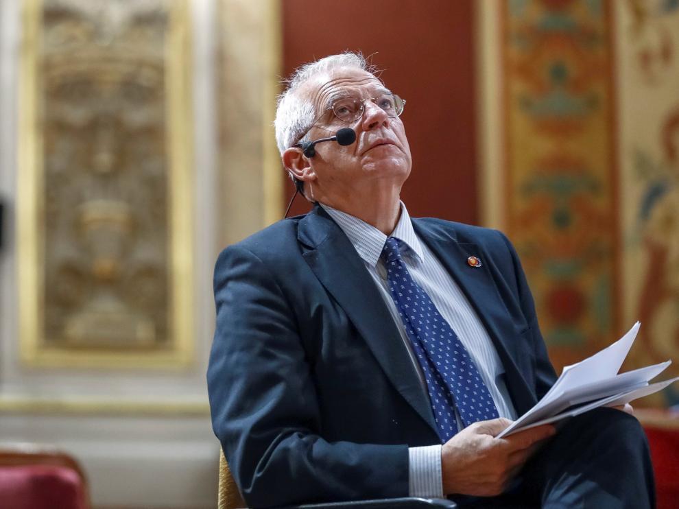 El ministro de Asuntos Exteriores, Unión Europea y Cooperación, Josep Borrell, durante su participación en el acto 'La UE como actor económico y global que protege a sus ciudadanos'