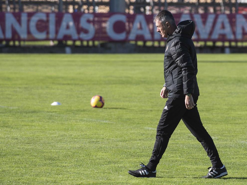 Lucas Alcaraz, ayer, en el entrenamiento del Real Zaragoza en la Ciudad Deportiva
