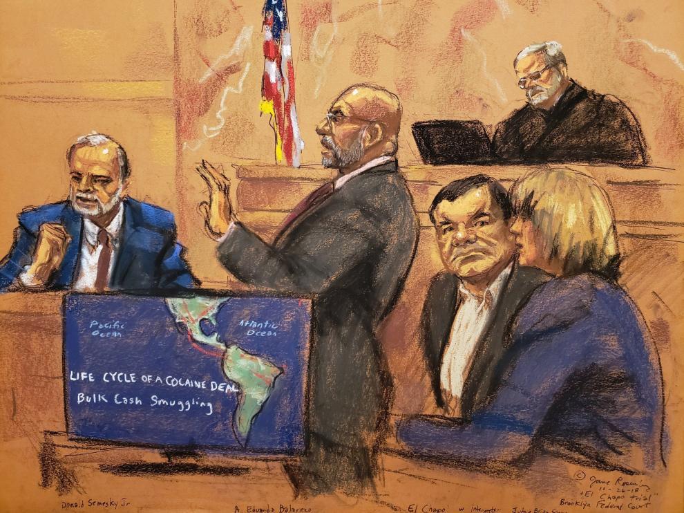 Imagen de un dibujo realizado durante el juicio de 'el Chapo'