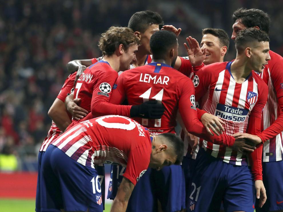 El Atlético de Madrid celebra uno de sus goles.