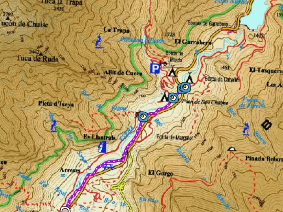 Mapa del Camino de La Ball.