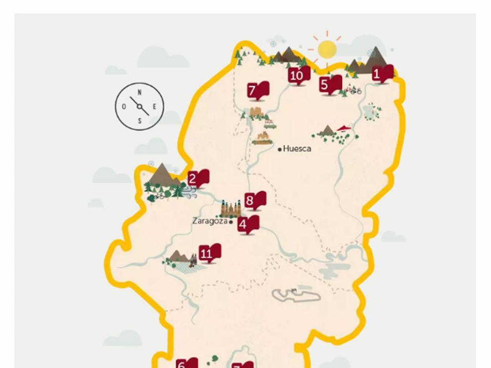 Un mapa indicativo de las rutas que hay programadas para los próximos meses.