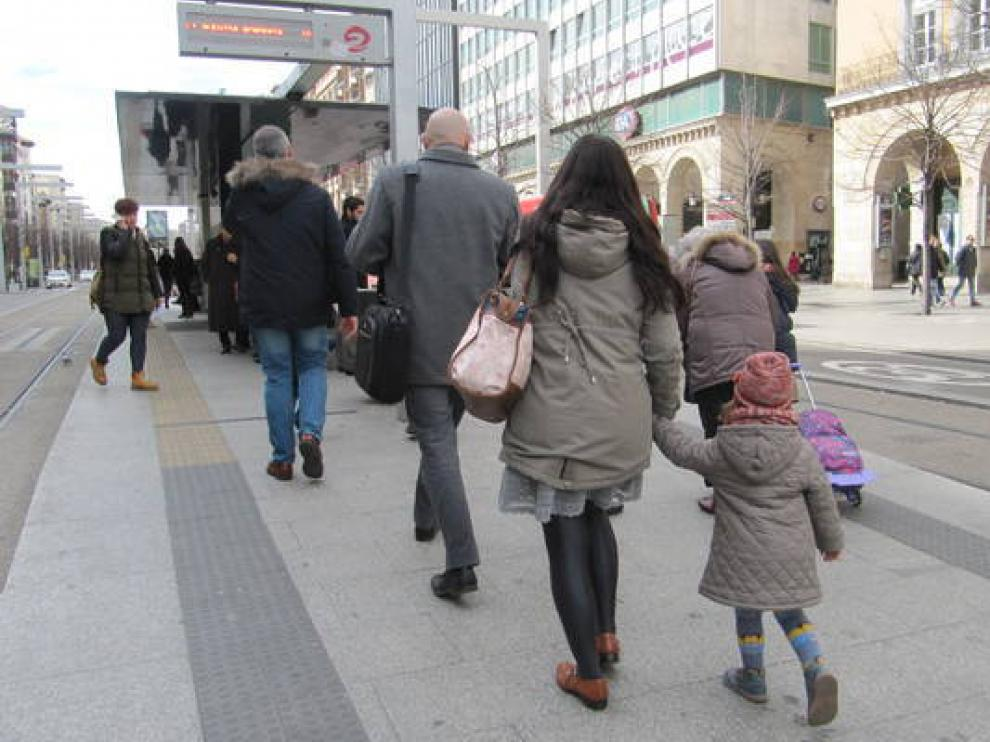 Imagen de archivo de la parada de tranvía de la plaza de España.