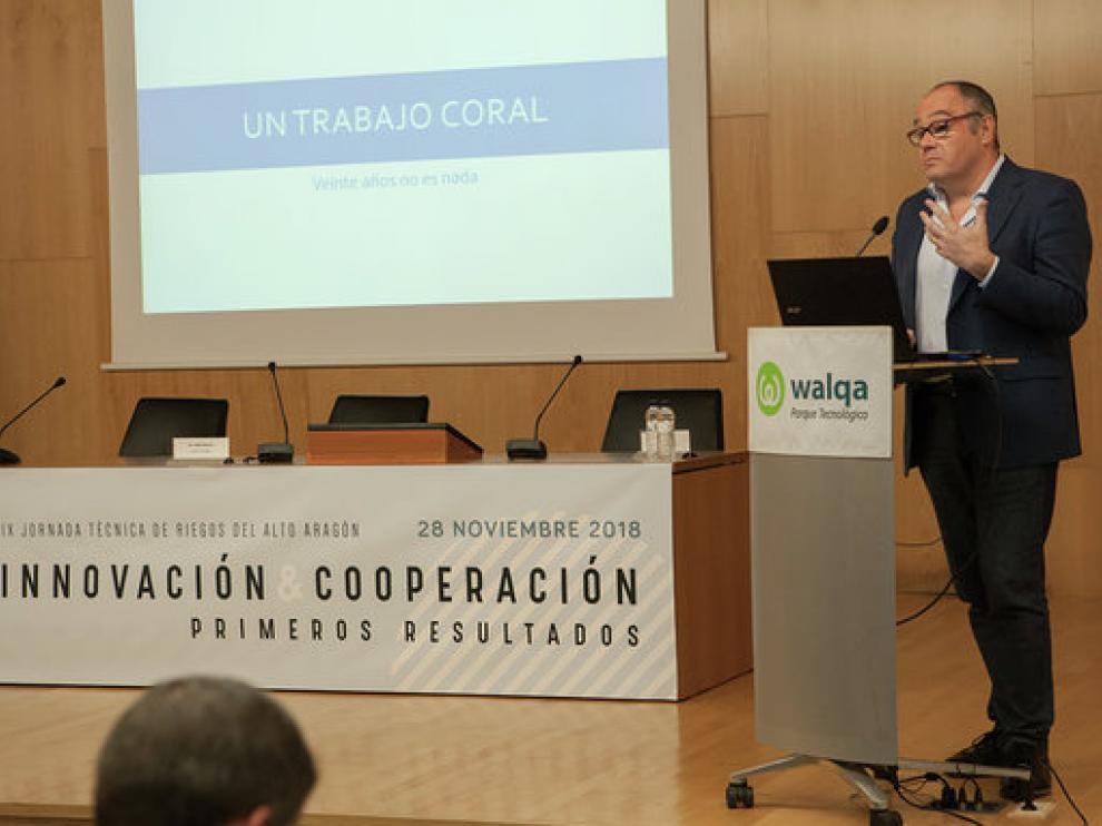 Enrique Playán ha estado este miércoles en Huesca, en unas jornadas de innovación en el regadío.