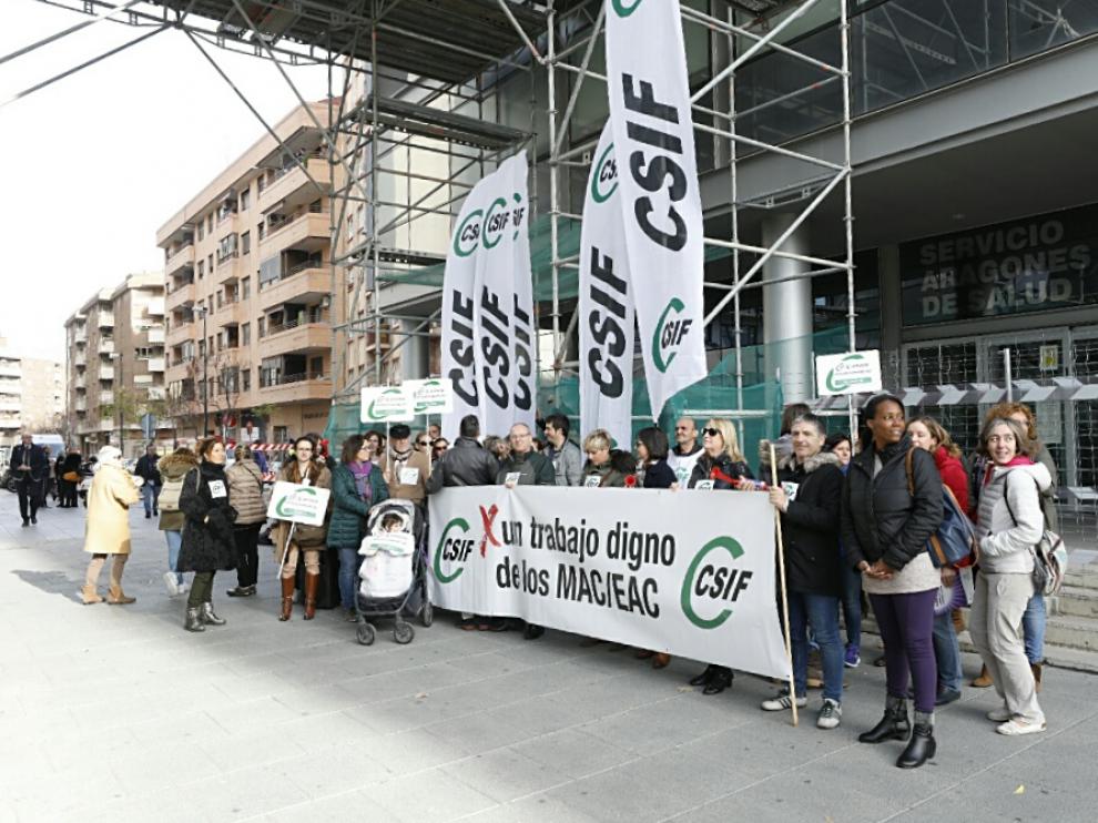 La protesta de esta mañana ha sido ante la sede del Salud.