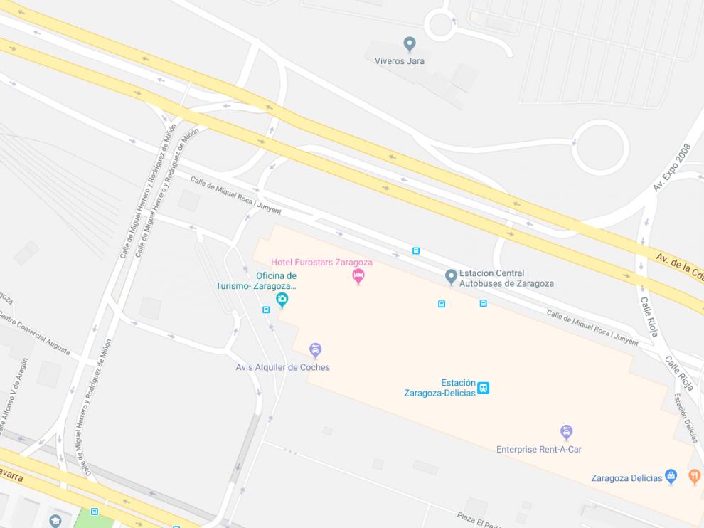 El incidente ocurrió en la avenida de Ciudad de Soria con la calle de Miguel Herrrero y Rodríguez de Miñón, junto a la estación  Delicias.