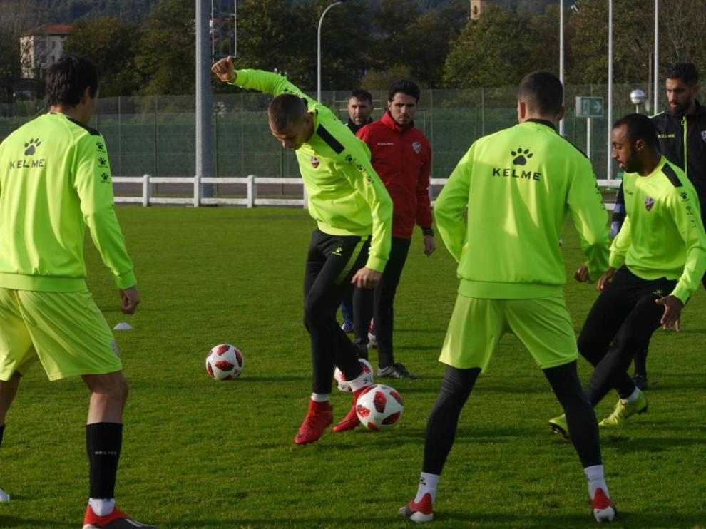 La SD Huesca ha entrenado esta mañana en Zamudio.
