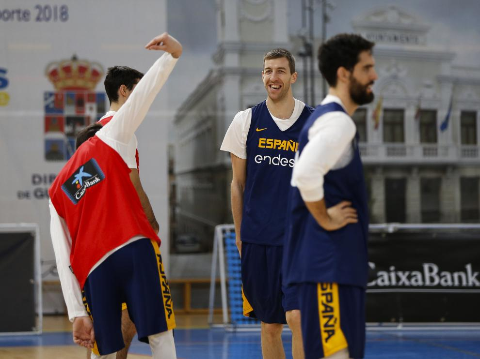 Fran Vázquez, en un entrenamiento con la selección española.