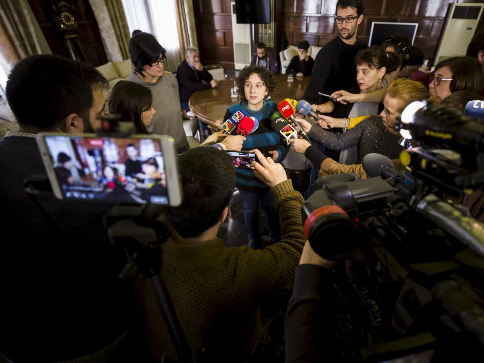 Arantza Gracia responde a los medios en una convocatoria hace varios meses.
