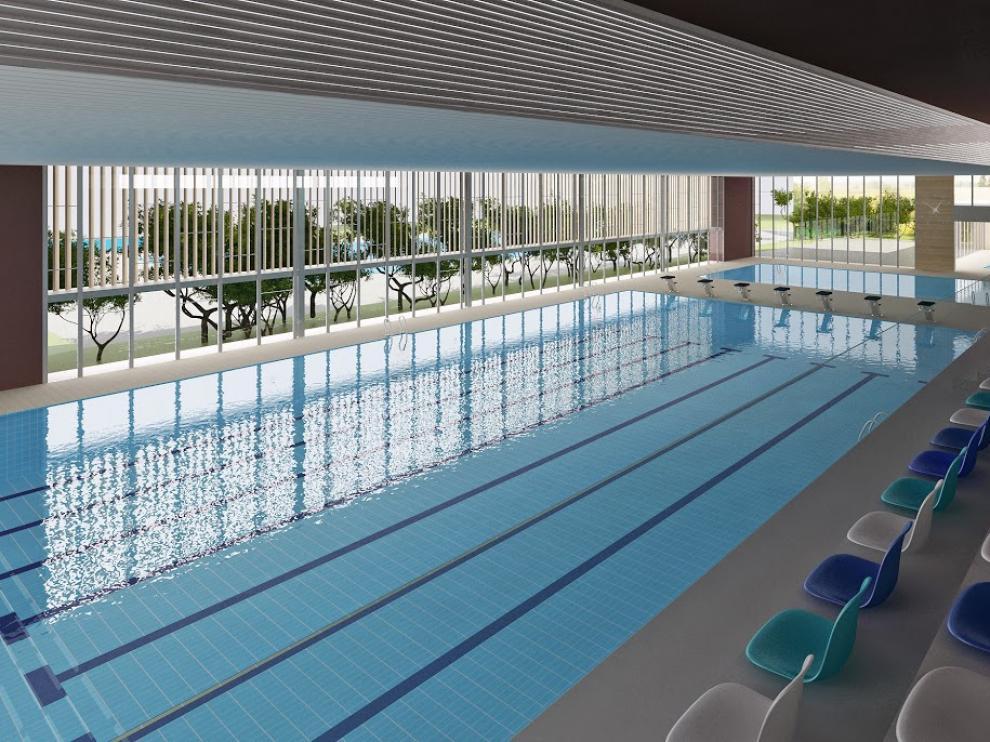 Recreación infográfica de la piscina cubierta proyectada en Los Planos.