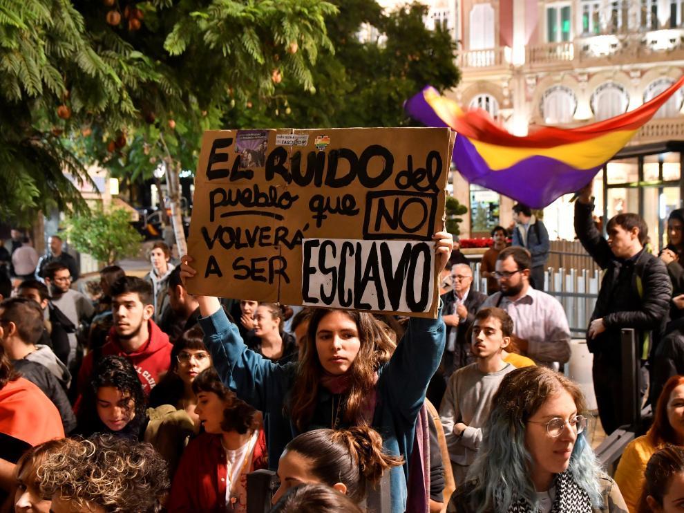 Manifestación en Almería, como protesta contra el fascismo tras los resultados de Vox en las elecciones andaluzas.