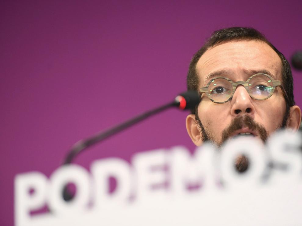 El secretario general de Podemos en Aragón y secretario de Organización de Podemos en España, Pablo Echenique, ayer en Madrid