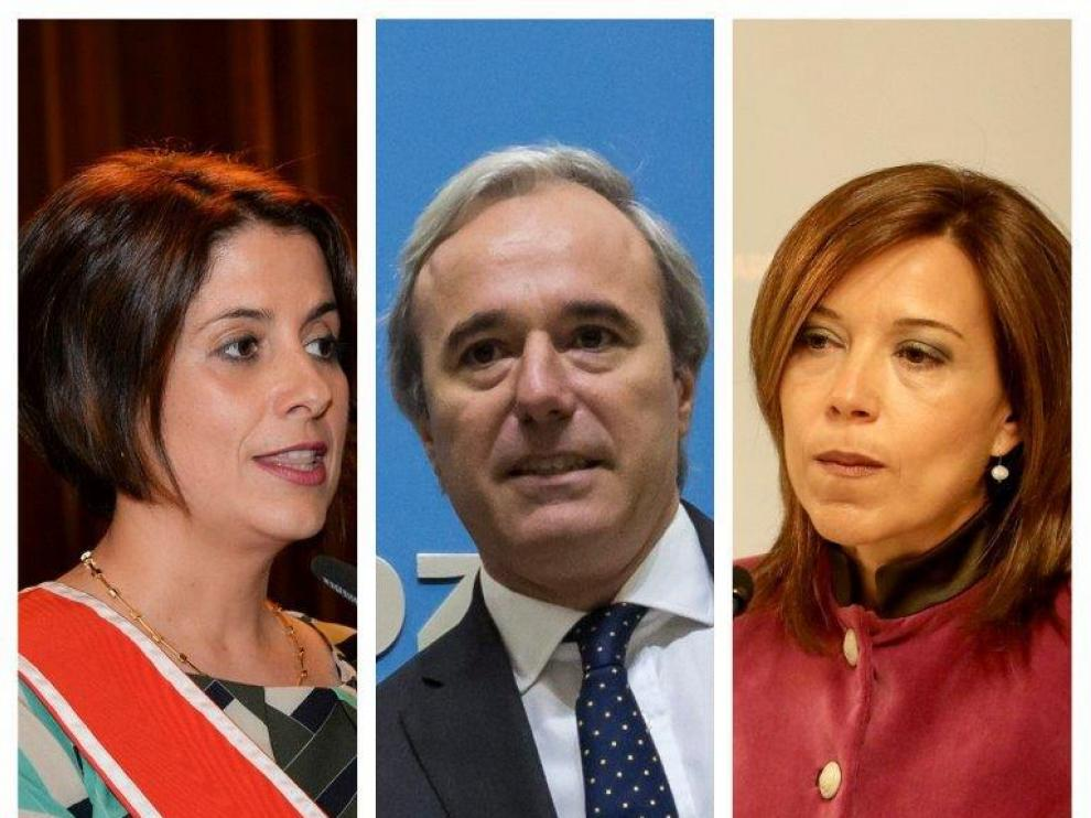 Emma Buj, Jorge Azcón y Ana Alós.