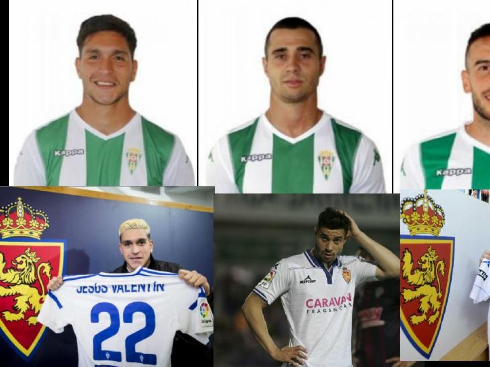 Jesús Valentín, Jaime Romero y José Fernández, ahora en el Córdoba y hace poco tiempo en el Real Zaragoza.