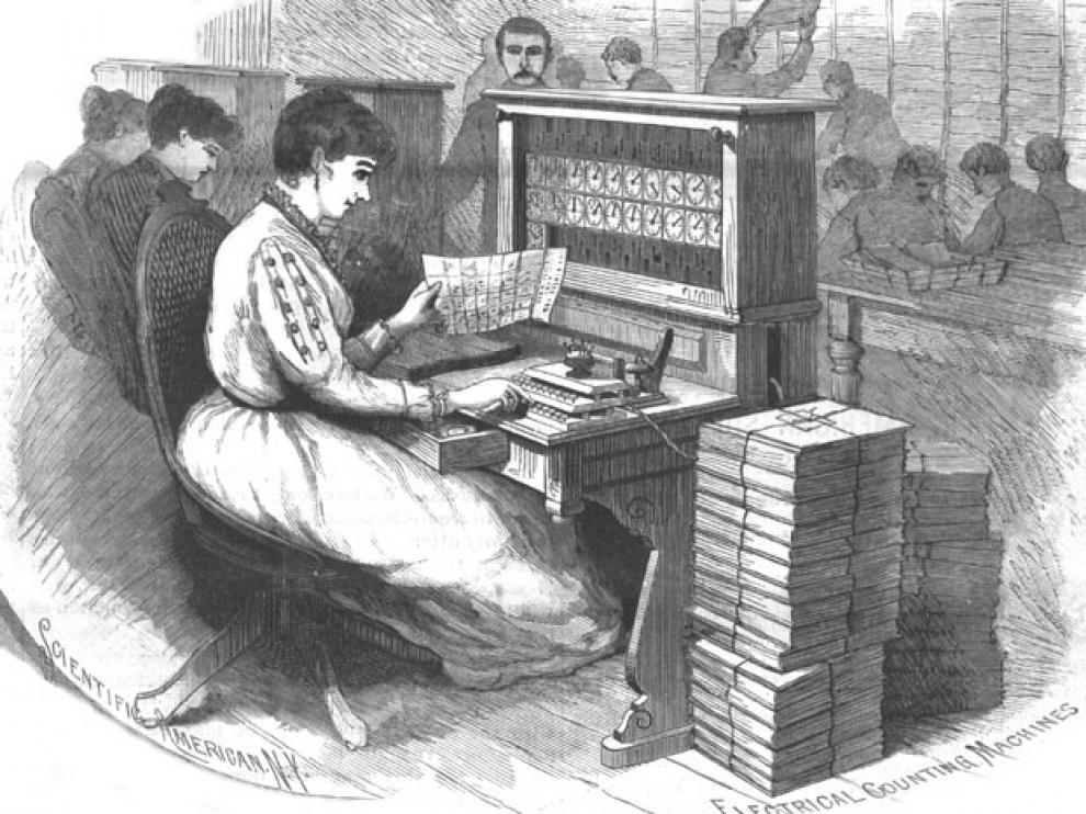 Máquina tabuladora de Hollerith según una ilustración de la revista 'Scientific American'