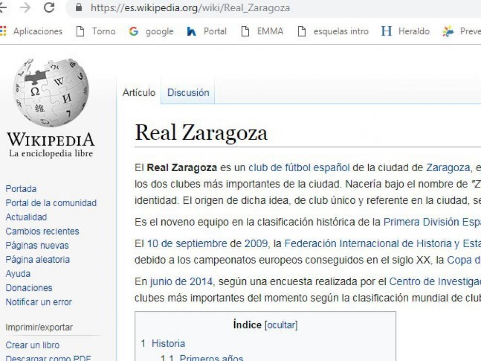 Gerard Piqué figura como presidente del Real Zaragoza en Wikipedia.