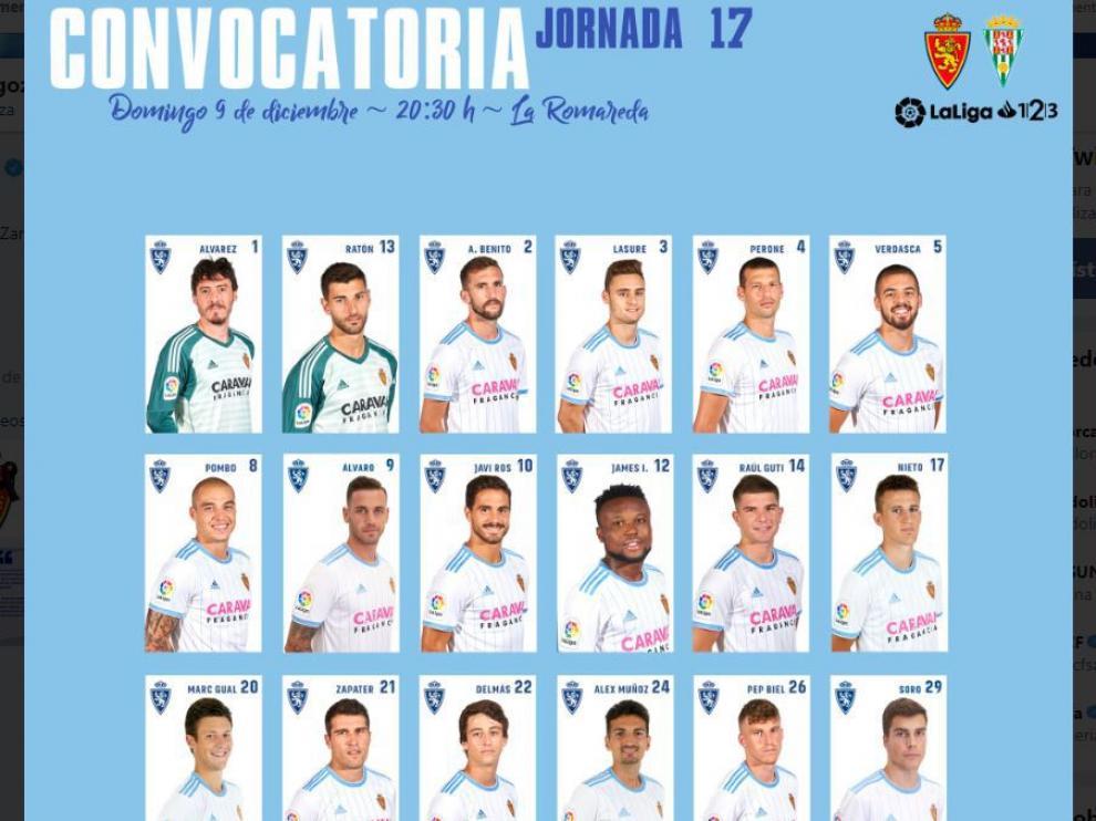 Lista oficial de 18 convocados del Real Zaragoza para el partido de este domingo ante el Córdoba en La Romareda.