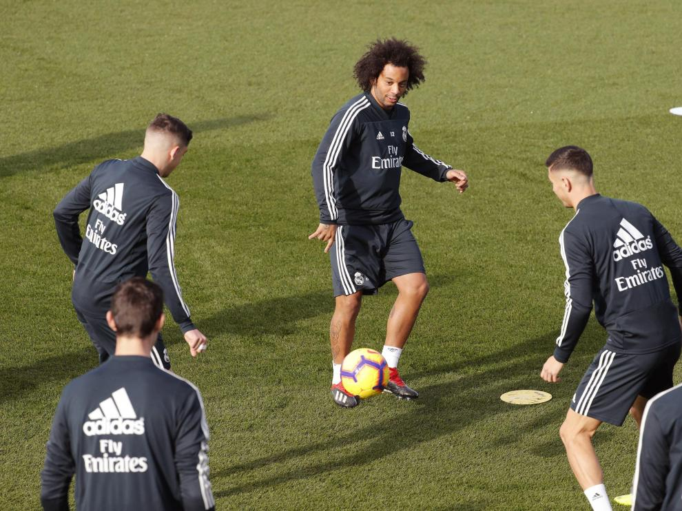 Marcelo, en el entrenamiento previo del Real Madrid a su partido con el Huesca.