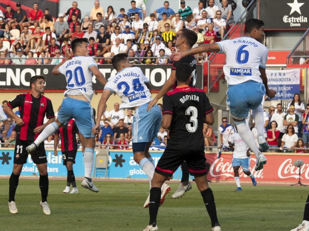 Una jugada del Reus-Real Zaragoza disputado en agosto en campo reusense, correspondiente a la jornada 2ª, que acabó 0-0.