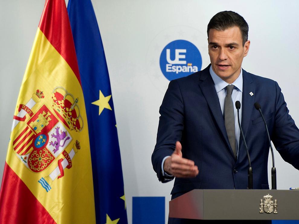 El presidente del Gobierno de España, Pedro Sánchez, durante la rueda de prensa ofrecida al término del Consejo Europeo de Bruselas.