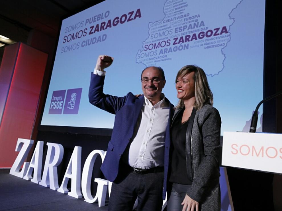 Javier Lambán y Pilar Alegría, en el acto del PSOE 'Somos Zaragoza'.