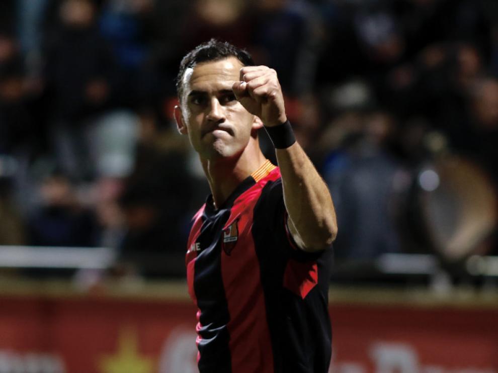 Miguel Linares celebra el gol marcado este sábado ante el Córdoba.