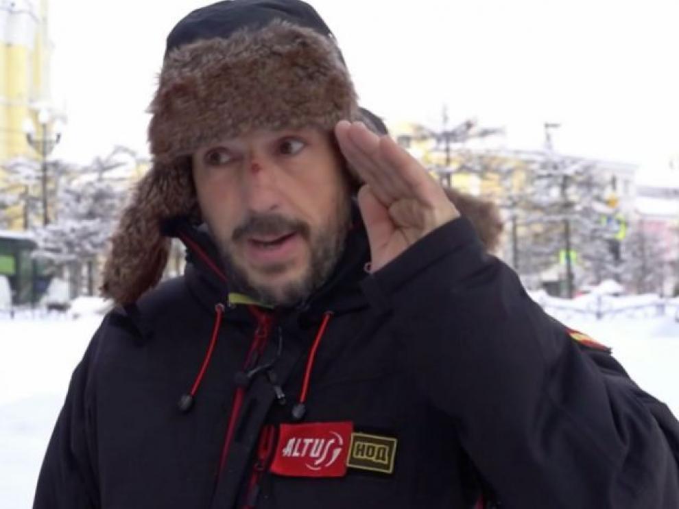Andrés Abián, entrevistado por la televisión rusa Piervy Kanal.