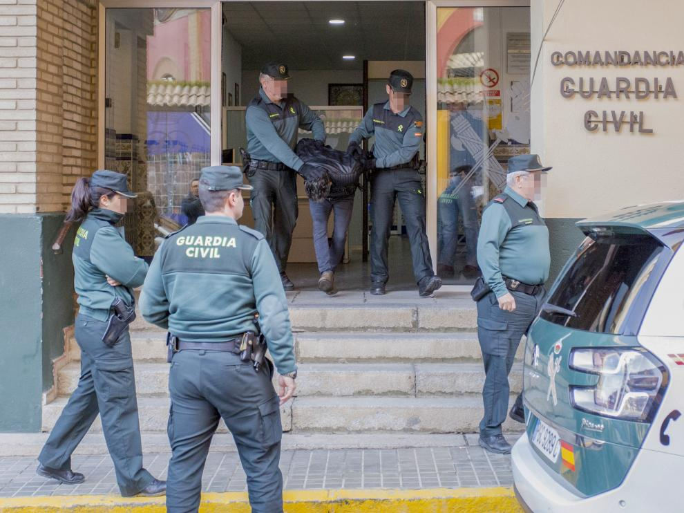 Bernardo Montoya, autor confeso del crimen de Laura Luelmo, en la Comandancia de la Guardia Civil.