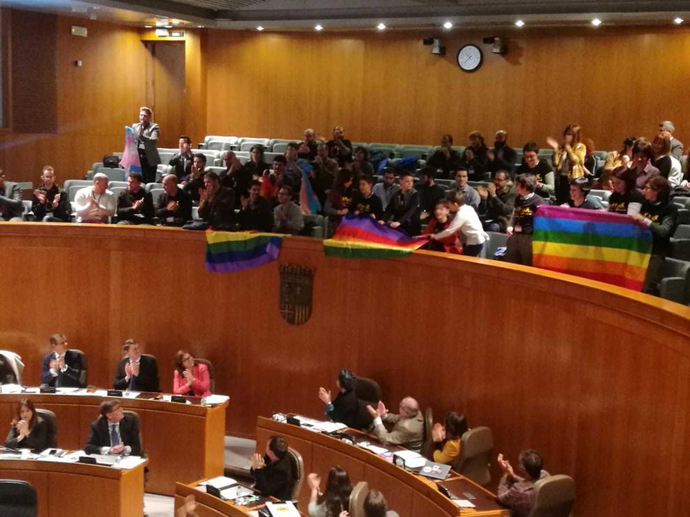 Los colectivos LGTBI han acogido la aprobación de la ley con aplausos y el despliegue de banderas multicolores en la tribuna de las Cortes.