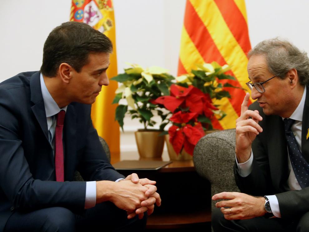 Sánchez se reunió con Torra en el Palacio de Pedralbes