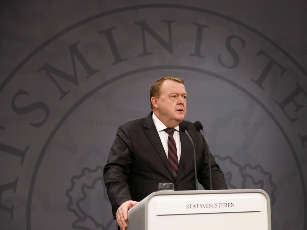 El primer ministro danés, Lars Loekke Rasmussen, en rueda de prensa.