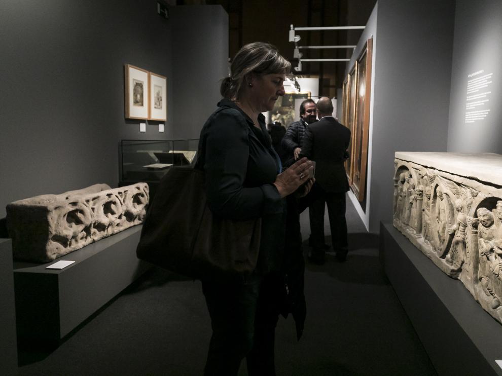 Inauguración de la exposición 'Panteones Reales de Aragón' en el Edificio Pignatelli de Zaragoza.