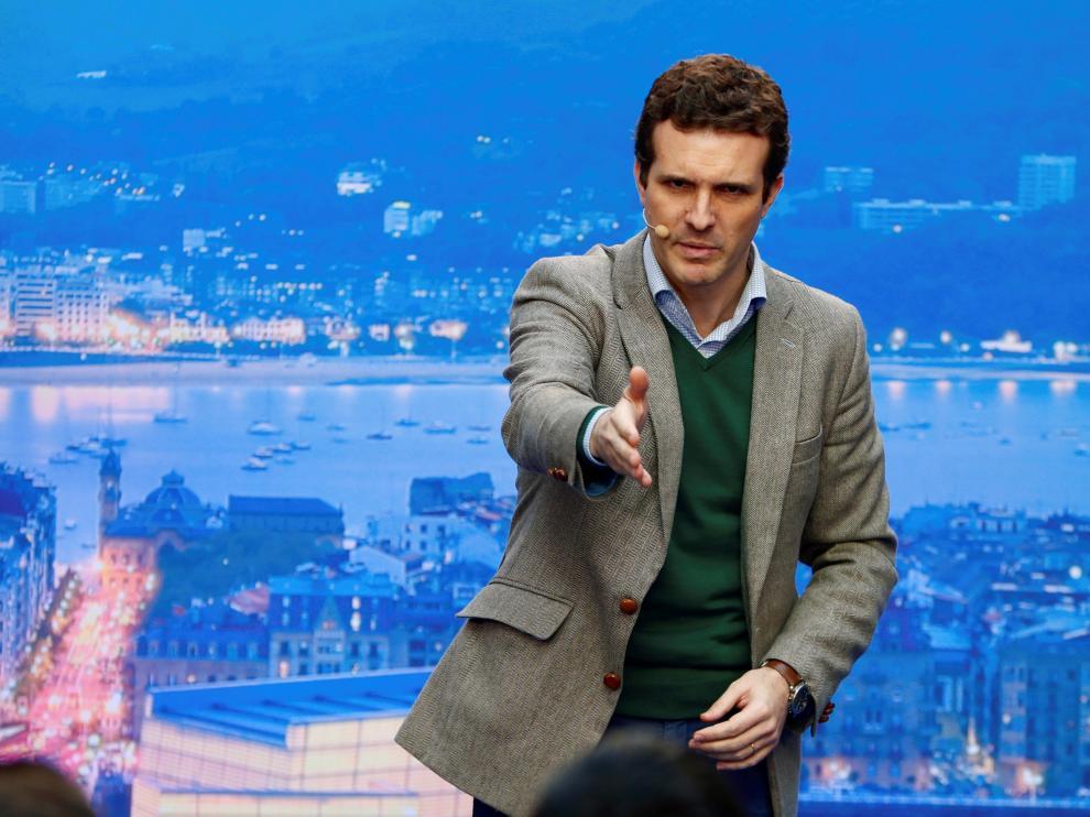 Pablo Casado en un acto en Vitoria para presentar a los candidatos del País Vasco.