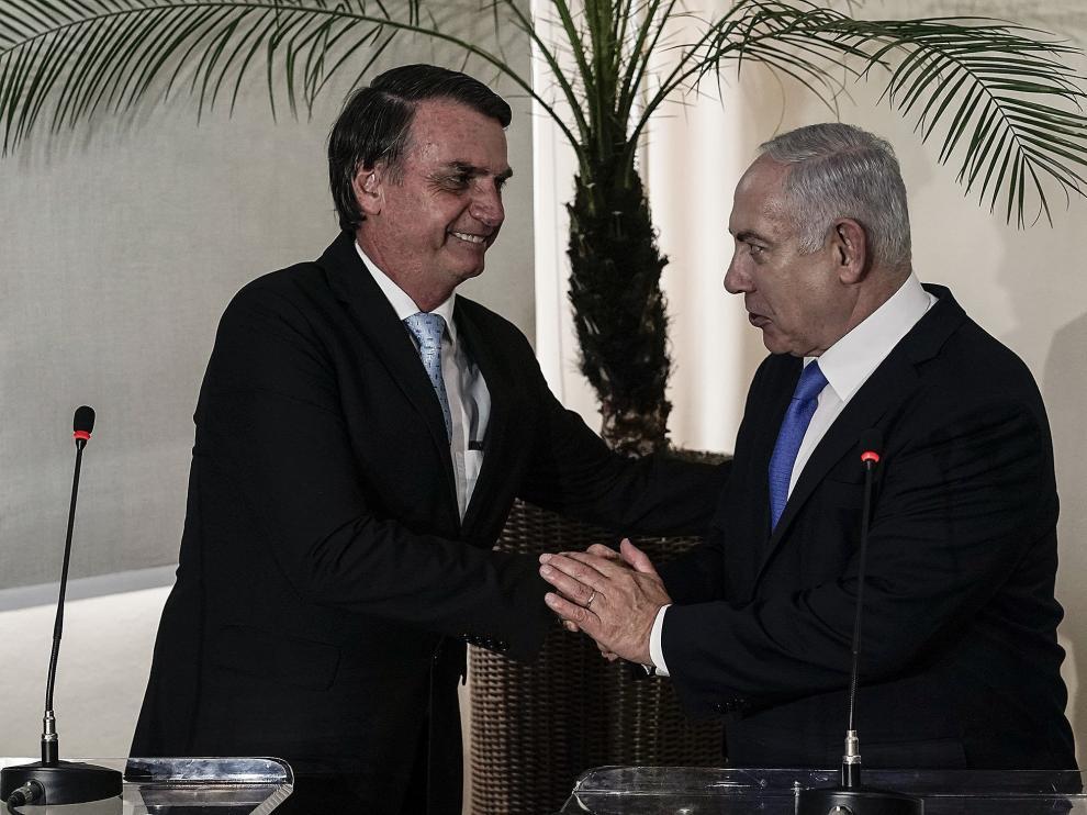 El presidente electo de Brasil, Jair Bolsonaro, y el primer ministro de Israel, Benjamín Netanyahu.