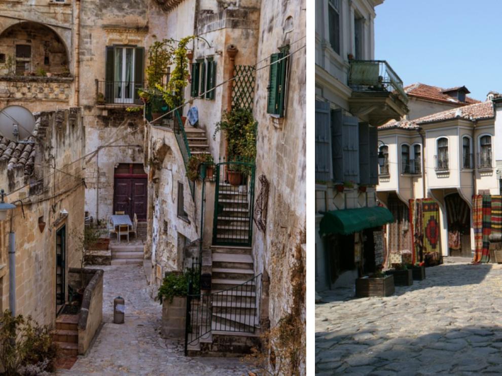 Combo de imágenes de Matera y Plovdiv