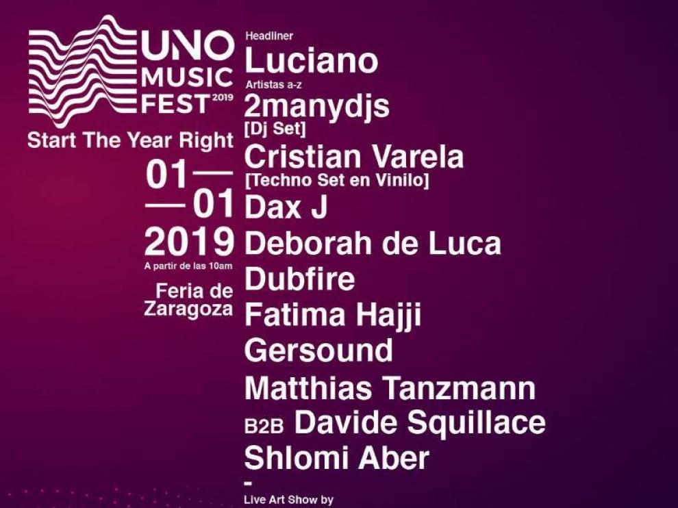 Cartel del festival cancelado en Zaragoza 'Uno Music Fest'.