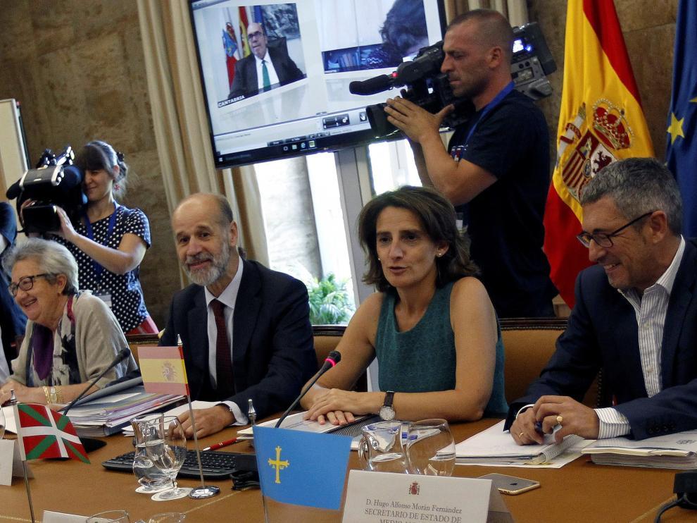 Teresa Ribera en una conferencia sectorial de medio ambiente.