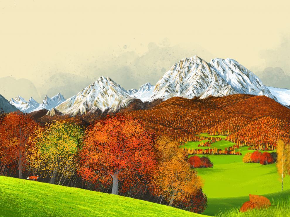 Un paisaje pirenaico de Saúl Irigaray para el cuento 'Chindarana', basado en un cuento indio.