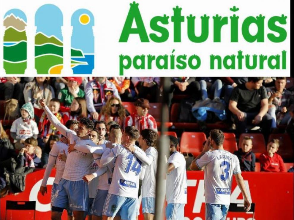 Celebración del 1-1 del Real Zaragoza en Gijón este sábado en El Molinón, logrado por Álex Muñoz. Encima, el logo oficial de la marca 'Asturias, paraíso natural', del gobierno autónomo del Principado.