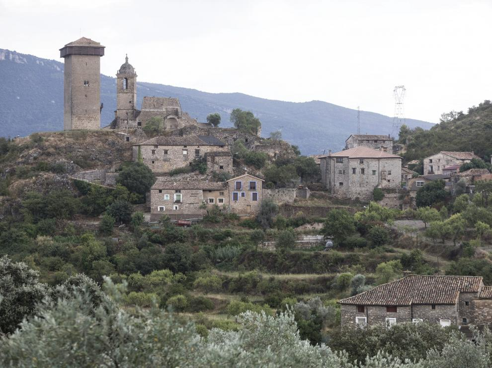 Vista de Abizanda, en el Sobrarbe, punto de partida de nuestra ruta.