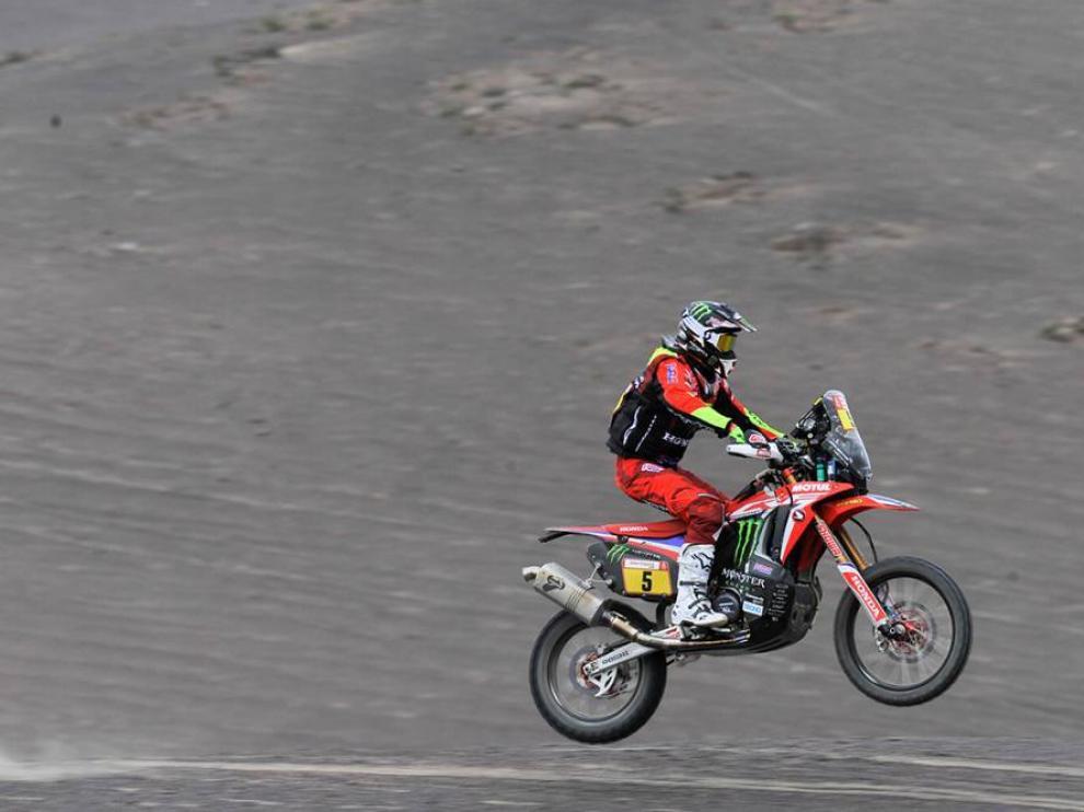 Joan Barreda, en la etapa de este miércoles, poco antes de abandonar el Dakar.