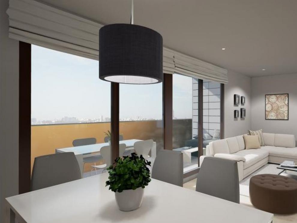 El salón con terraza de una de las viviendas de Azud del Ebro Residencial.